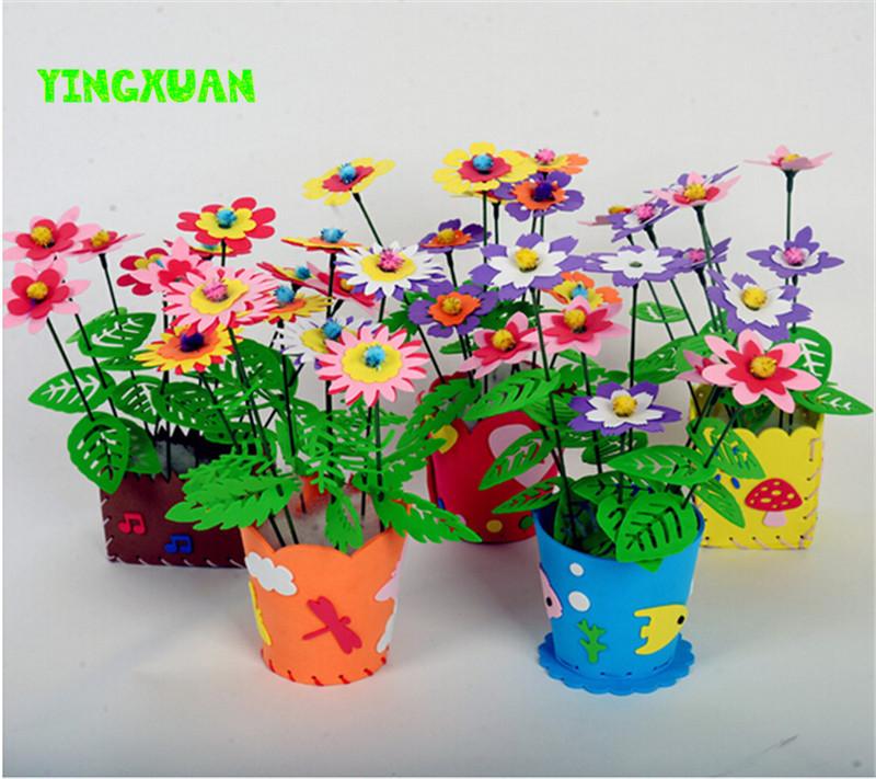 Buy 5pcs lot handmade eva flower pot toy for Craft kits for kids in bulk