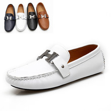 Free Shipping Quality 2015 Fashion Designer Men Leather White Loafer Shoes Soft and Comfortable(China (Mainland))