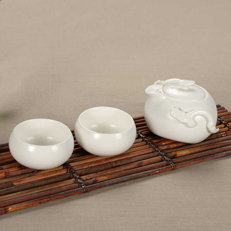 Drinkware Genuine Ceramic Tea set ,teapot, China Ding Kiln tea set, Kung Fu Tea set, A pot of two cups(China (Mainland))