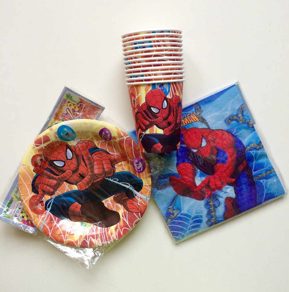 Boy kids 2nd 3rd 4th 5 6 7 birthday decoration kits 18 kids Ultimate Spiderman Birthday Party Tableware cups plates napkins(China (Mainland))