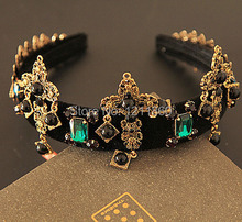 New Arrival Big Cross Green Stone Gem T Show Noble Luxury Headband Crystal Women Party DG Jewelry For Women Hairjewelry free 03(China (Mainland))