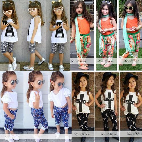 2015 girls summer clothing sets kids girls floral skirt t shirt clothing sets children short sleeved