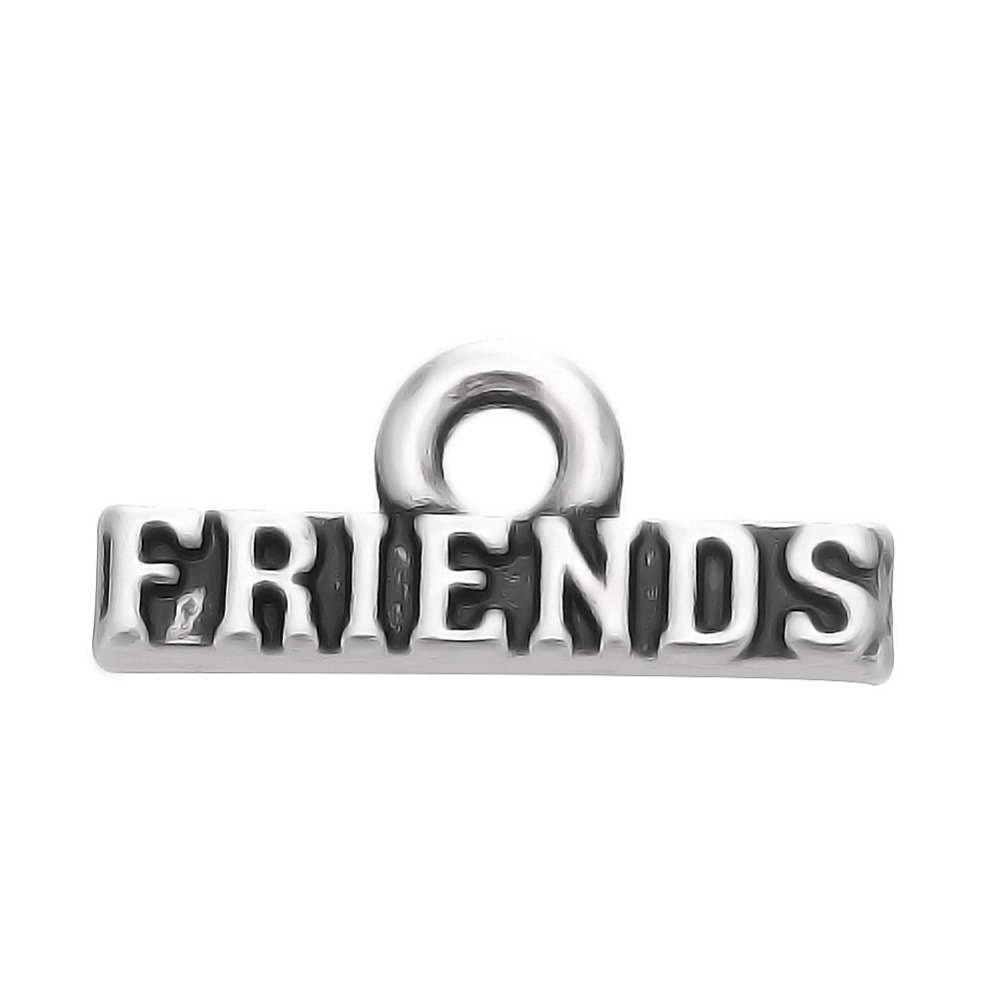 50pcs a lot antique silver plated friends word charm for
