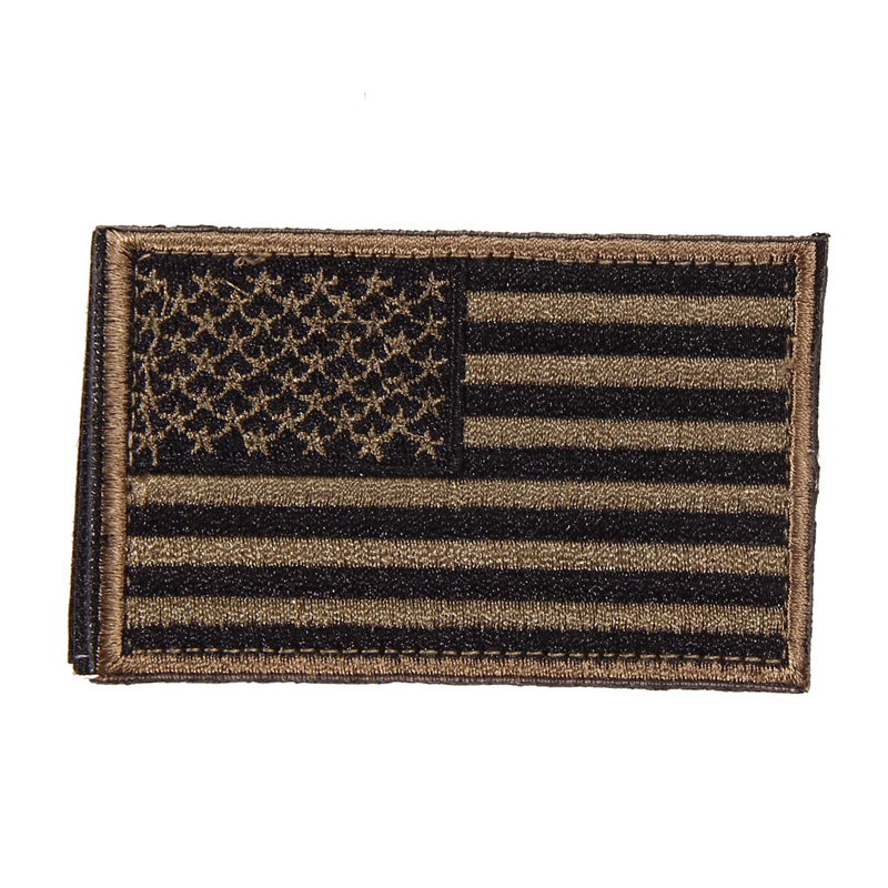 Free Shipping American Flag Embroidered Patch Patriotic USA Military tactics Patch Black Patches(China (Mainland))