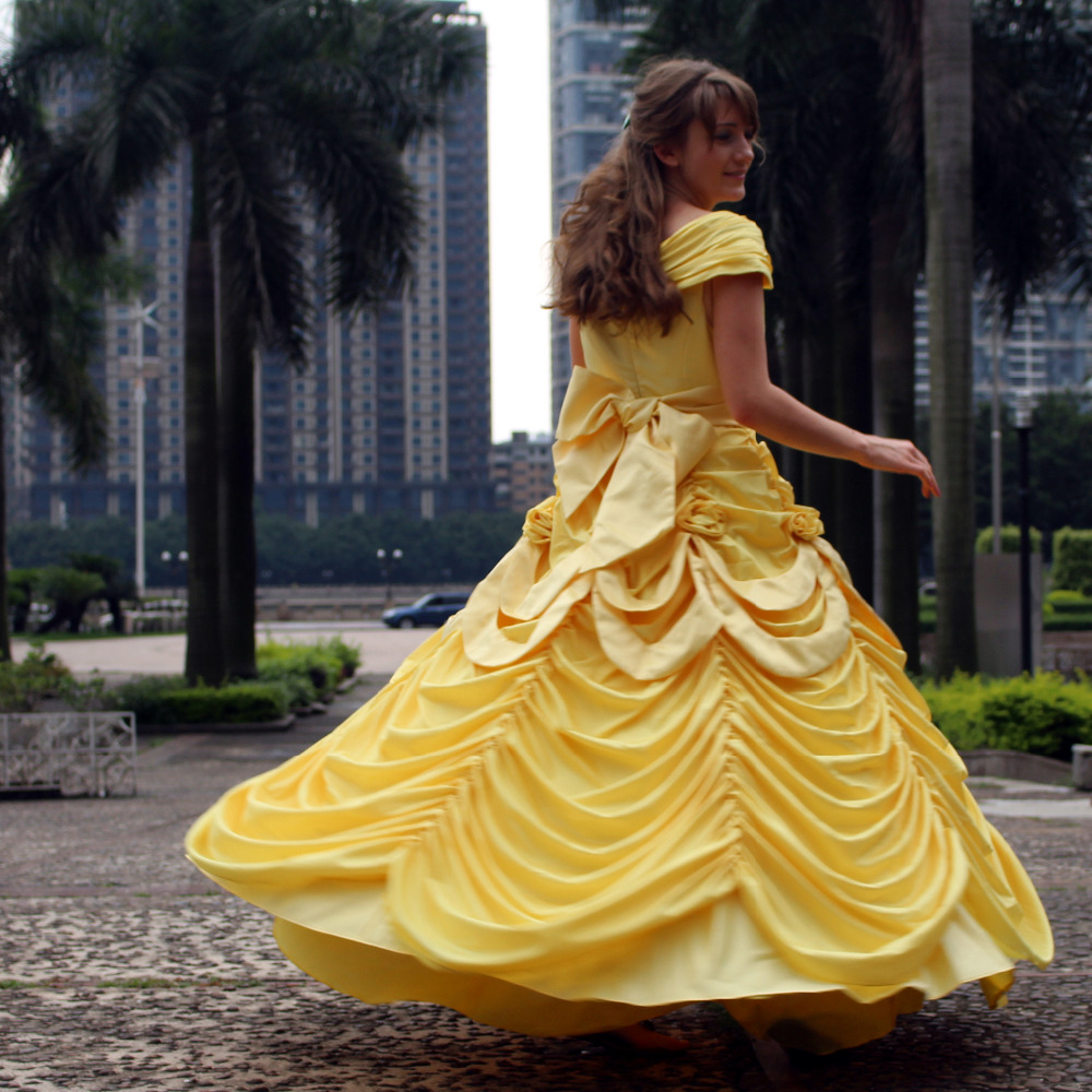 Beauty and the beast Belle Princess dress Cosplay Costume yellow dress