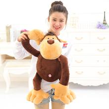 Cute soft plush big mouth brown monkey toy doll,stuffed gibbon monkey gorilla,creative birthday and education gift for children(China (Mainland))