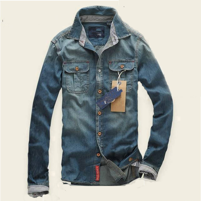 Fashion brand thin denim cloth men shirts water washed Shirts for thin guys