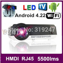 Factory saleCheapest HD Projector 5500 lumens LED Android4.2.2 Wifi Smart Multimedia video 3D Proyector Full hd for home theatre(China (Mainland))