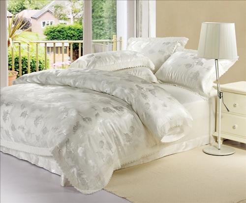 Luxury Silk Jacquard bedding set Home Textile Silk Satin ropa de came Quilt cotton bed sheet White Comforter Bedding Set sabanas(China (Mainland))