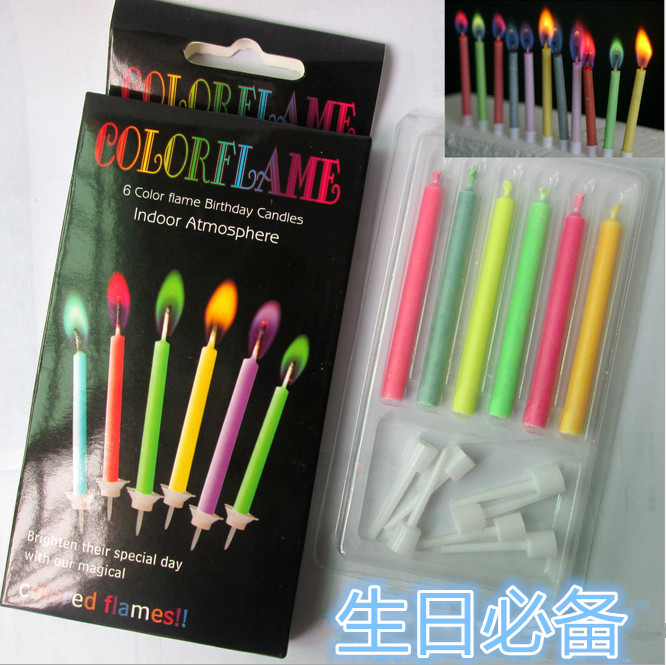 Free shiping magic color flame birthday cake candles 6pcs/pack wholesale cheap price candles party decoration promotion candles(China (Mainland))