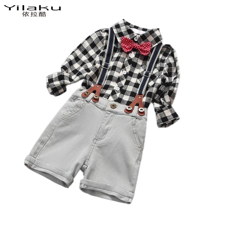 2016 Summer Baby Boys Clothes Set Fashion Children Plaid Shirt+Denim Shorts with Tie 2 PCS Todder Boy New Clothing Sets CF381<br><br>Aliexpress