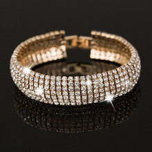 Factory price Gold and Silver Classic Crystal Pave Link Bracelet Bangle Fashion Full Rhinestone Jewelry for Women B011(China (Mainland))