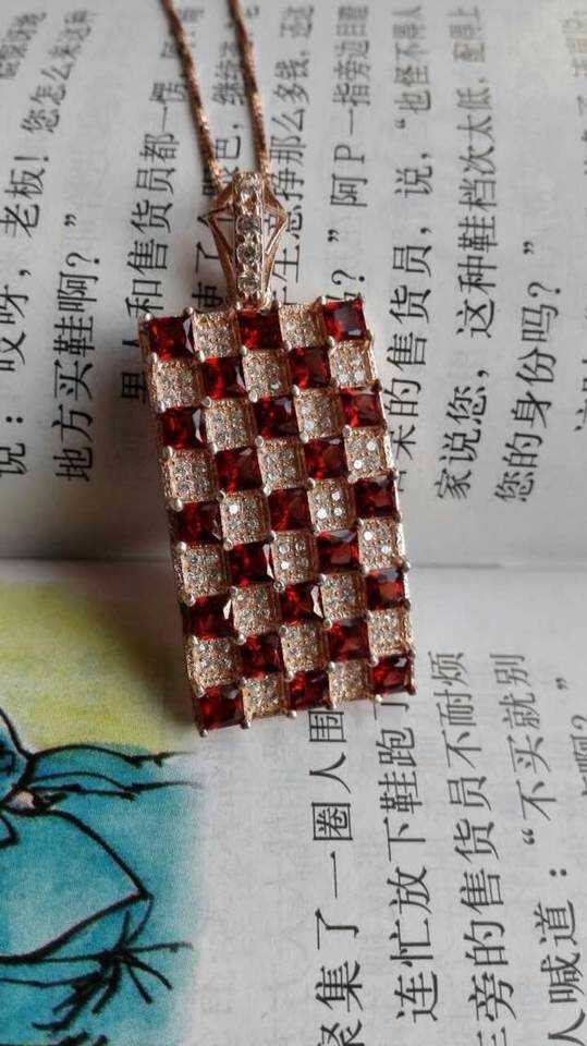 2015 new Wholesale fashion square big natural garnet stone pendant natural gem stone pendants for women Anniversary fine jewelry<br><br>Aliexpress