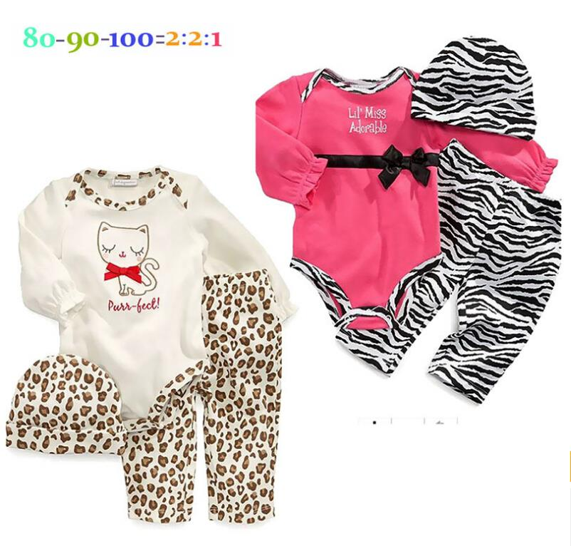 Baby girl 3pcs sets 2015 new fashion Leopard Zebra Baby romper Sets newborn jumpsuit Suits (Romper+pants+hat) baby clothing(China (Mainland))