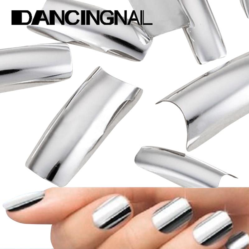 100Pcs Metallic Silver French False Nail Art Tips Design Acrylic UV Gel Manicure Free Shipping(China (Mainland))