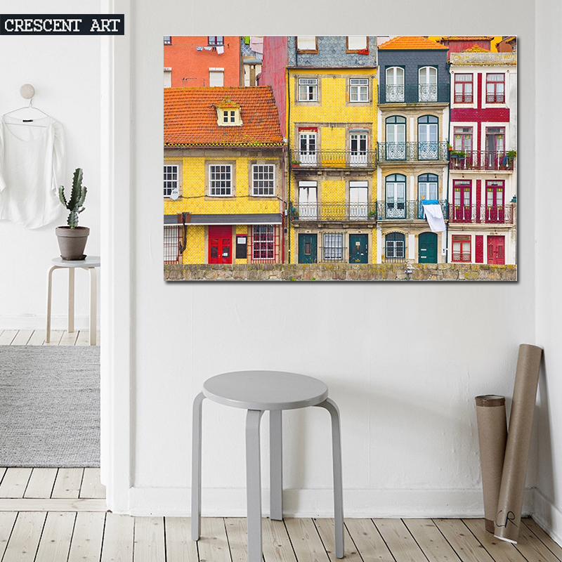 Colourful Architecture Wall Poster Village Picture Print European Streets Canvas Photo Art Large Home Decor for Livingroom(China (Mainland))