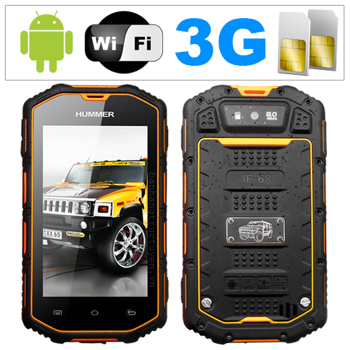 Original Hummer H5:IP67 Waterproof Phone MTK6572 Dual Core 3G Smartphone GPS  Bluetooth Dustproof Shockproof  Russian Portuguese(China (Mainland))
