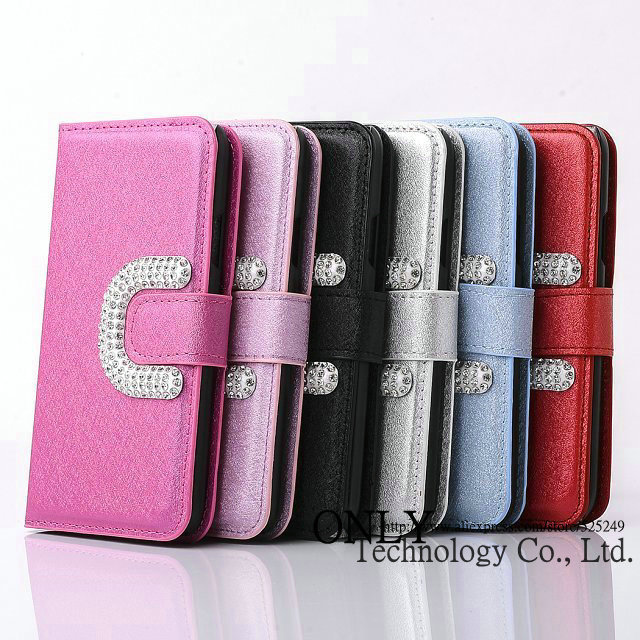 For Samsung Galaxy S5 I9600 Bling C Logo Wallet Flip PU Leather Case With Stand Card Holder Leather Case For S5 10pcs/lot(China (Mainland))