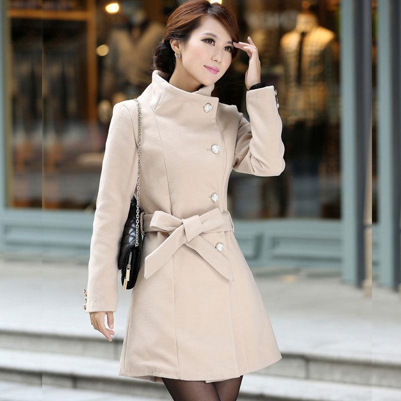 2015 mujeres de lana mujeres largo invierno lana abrigos chaqueta gris negro para mujer de doble botonadura abrigo femenino en De lana y Mezclas de Ropa y