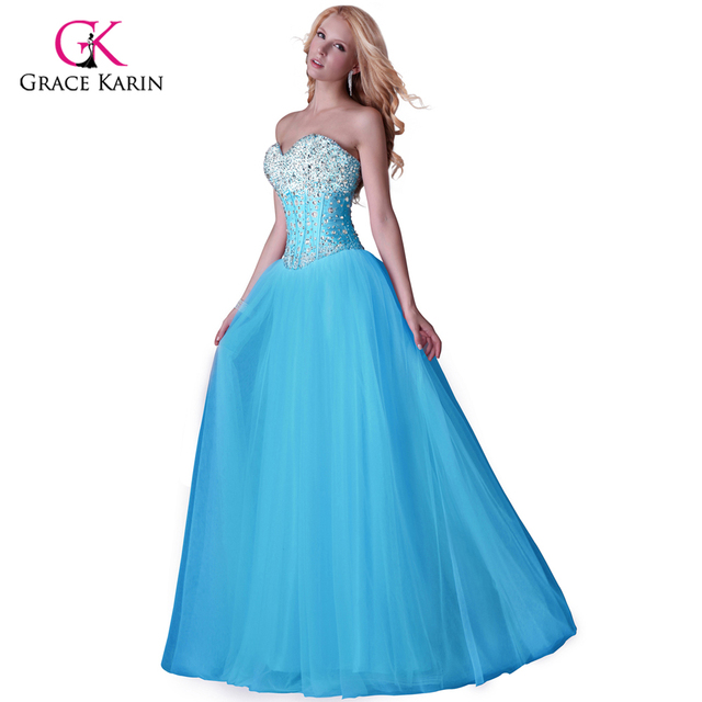 2016 Grace Karin White Blue Pink women Long Evening Dresses Corset-style new arrival elegant Prom dinner Party Formal Gowns 3519