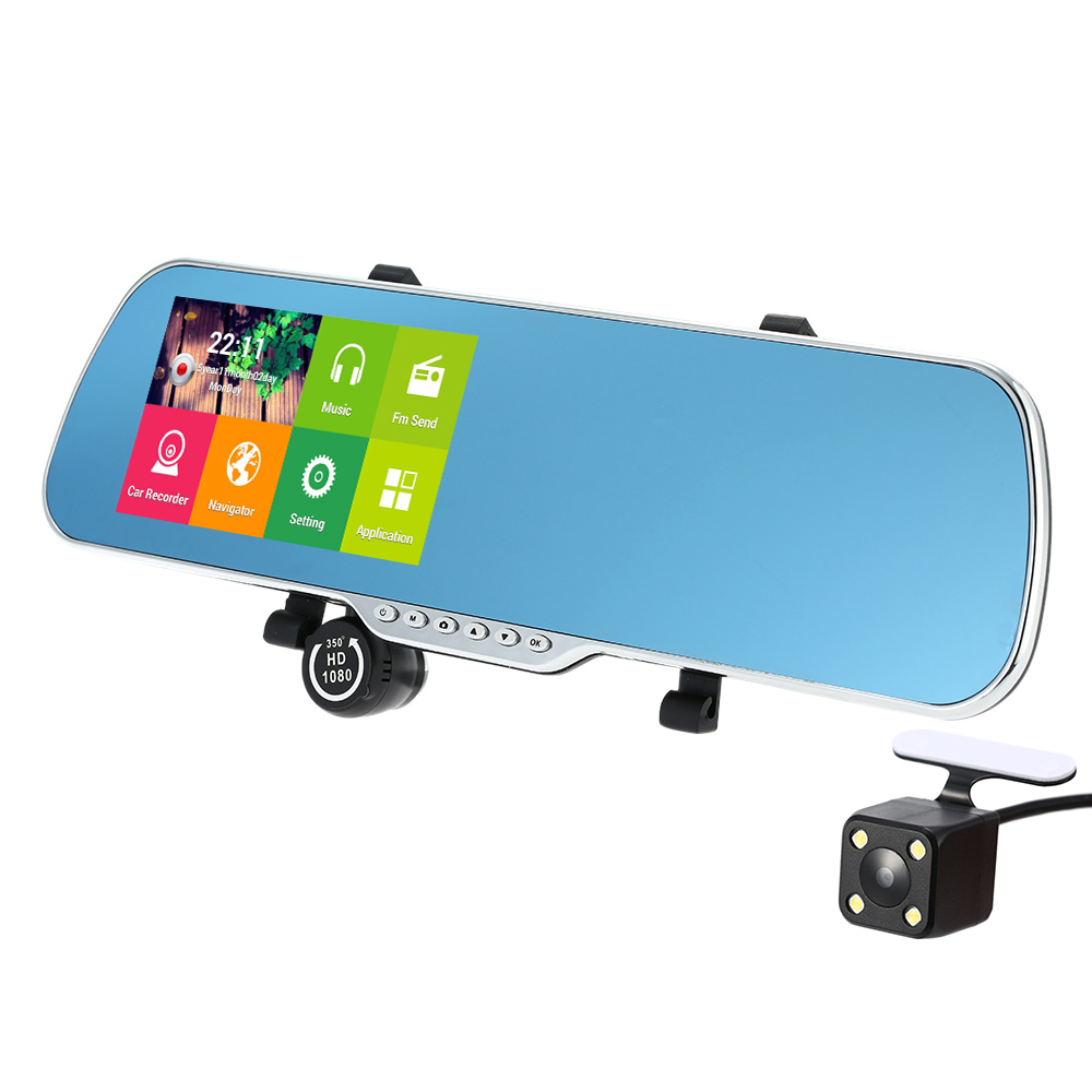 "5"" Android 4.4 Smart System GPS Navigation Car Rearview Mirror DVR Dual Lens Front Rear 1080P Camera Recorder with G-sensor(China (Mainland))"