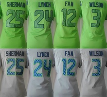 Best quality Mujer s 3 mujer s Wilso n Jersey 25 Richard Sherman 12 fan Jersey 24 Lynch Jersey(China (Mainland))