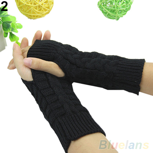 Winter Unisex Arm Warmer Elbow Long Fingerless Mitten Knitted Soft Gloves 1QAZ 486Y