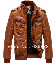free shipping men's clothing 2013 new trends PU motorcycle clothing male plus velvet  leather jacket winter overcoat outwear(China (Mainland))