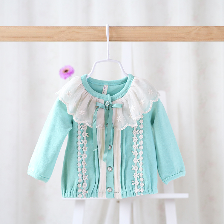 Free shipping 7 colors 2015 New baby girls princess cardigan outerwear children cute cotton blouses lace bow 1501111<br><br>Aliexpress