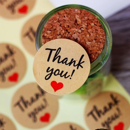 "120pcs/lot Vintage""Thank you"" Heart Round Kraft paper Seal sticker For handmade products baking products sealing sticker lable(China (Mainland))"