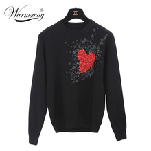 European Style New Fall Winer Women Star Celebrity Heart Flowers Sweet knitting sweater Warm Casual tops WS-011(China (Mainland))