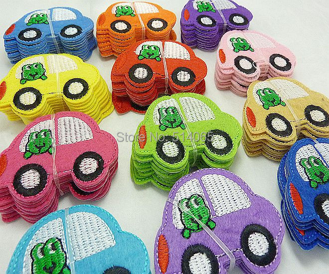 free shipping 120pcs Embroidered Cloth Iron On Patch Sew Motif Applique Embroidery Frog Car(China (Mainland))