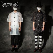 HOT 2016 summer new Men fashion organza sun protection clothing loose half sleeve perspectivity long trench coat singer costumes(China (Mainland))