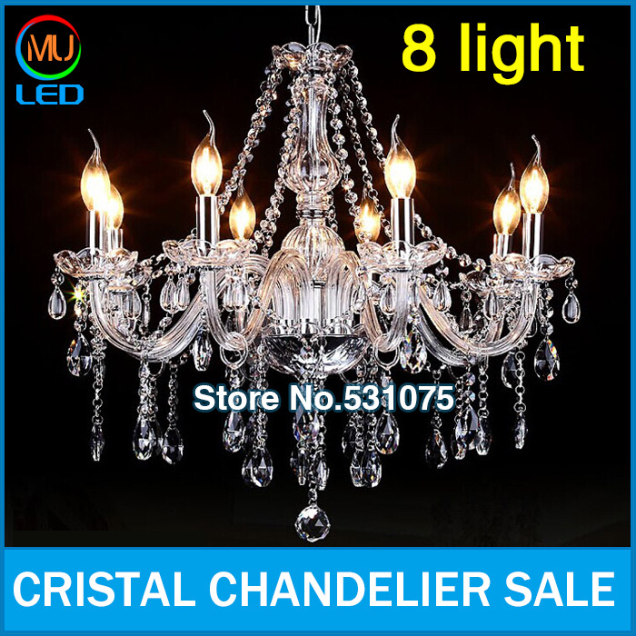 Free Shipping 8 Arms Home Lustres de Cristal Chandelier Sale , K9 Crystal light(China (Mainland))