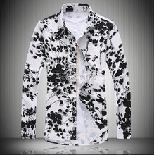 2015 Autumn Mercerized flowers printed shirts men loose Floral printing Glossy long-sleeved shirts men,large size M-7XL,5-color(China (Mainland))