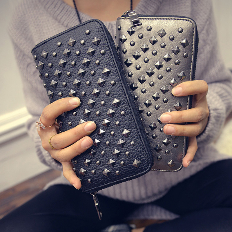 Fashion European and American  style new women wallet long pu leather purse clutch vintage punk rivets Ladies Designer wallet <br><br>Aliexpress