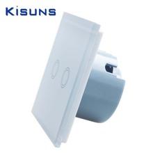 Nuovo pannello di cristallo interruttore a parete standard ue 110 ~ 250 v touch interruttore  Schermo chiaro della parete interruttore 2 gang 1 via bianco marca kisuns(China (Mainland))
