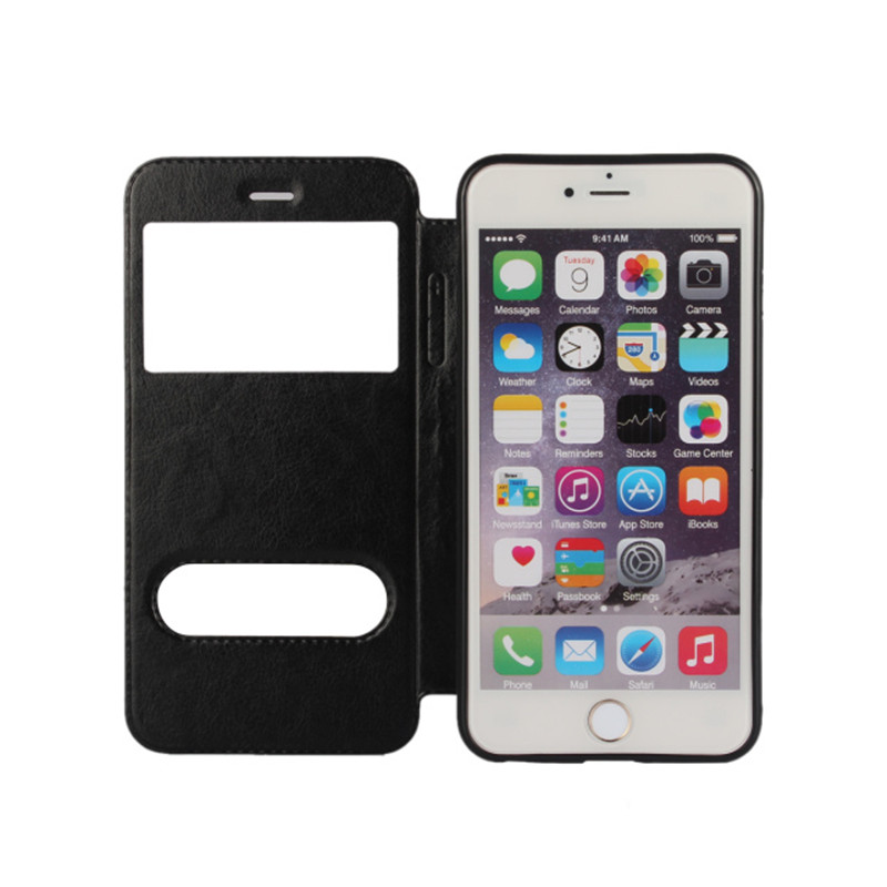 New Luxury View Window Mobilephone Case For Apple iPhone 6 4.7 inch Flip PU Leather Phone Bag Cover Magnetic Sliding Answer(China (Mainland))