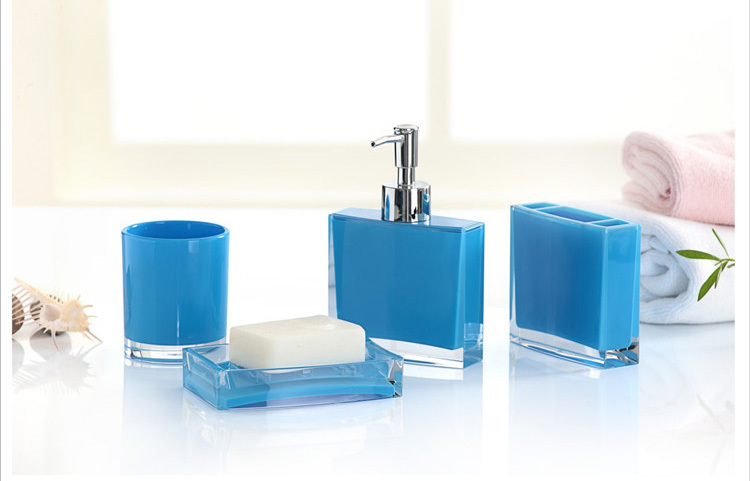 Fashion bathroom set 4pcs blue bath set 4pieces sanitary for Blue bath accessories set