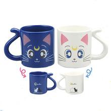 2015 Cute kawaii anime Sailor Moon Crystal 20th anniversary Tsukino Usagi Luna and Artemis coffee couple Mug Cup glass gift