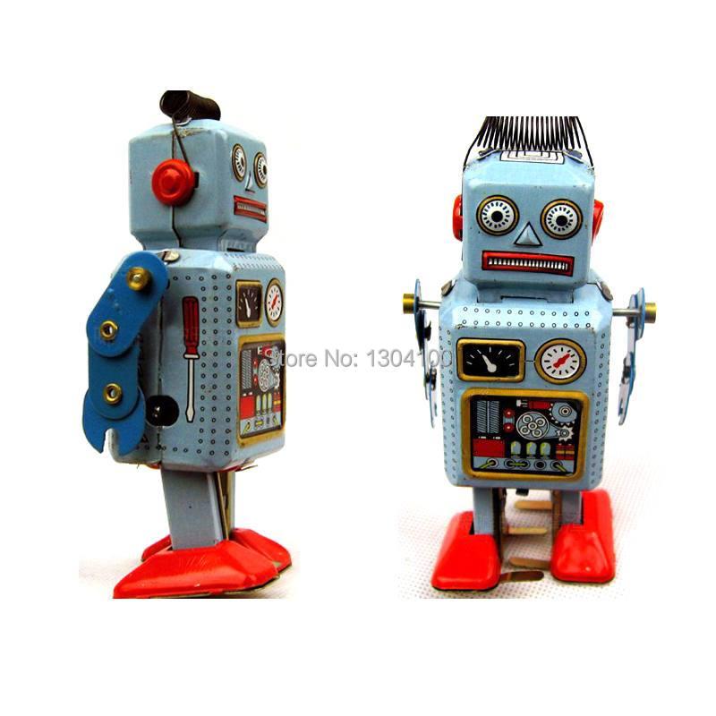 2014 New Arrival Vintage Blue Wind Up Walking Robot TIN TOY mechanical clockwork Retro Gift,Free Shipping FZ1925 F3(China (Mainland))