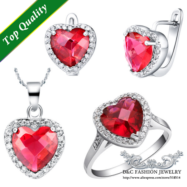 Sterling Silver Sets Heart Earring Pendant Ring with Stone CZ Diamond Bijoux Jewelery Set Top Sell Fashion Jewelry UloveT076(China (Mainland))
