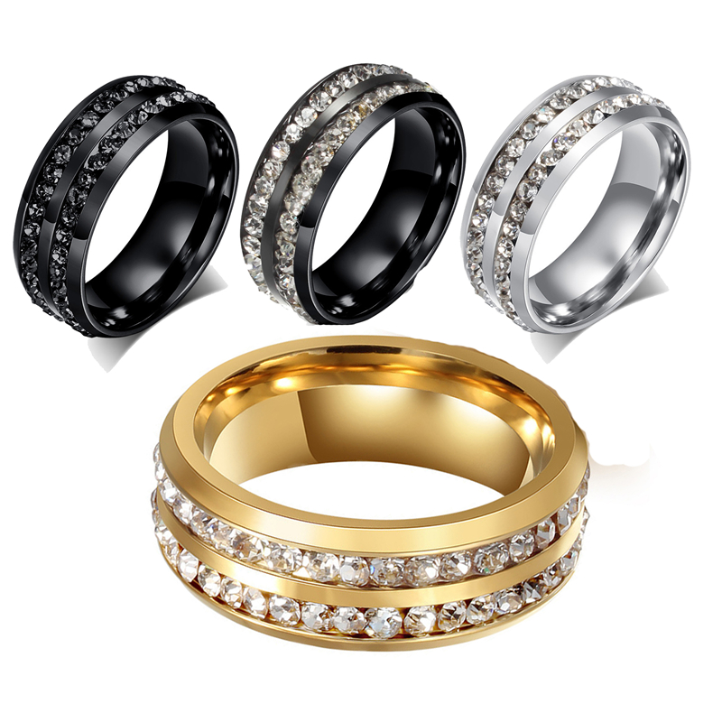 Aliexpress Buy 316L Stainless Steel Men Wedding Rings Mens Ring Jewelry Beauty Crystal