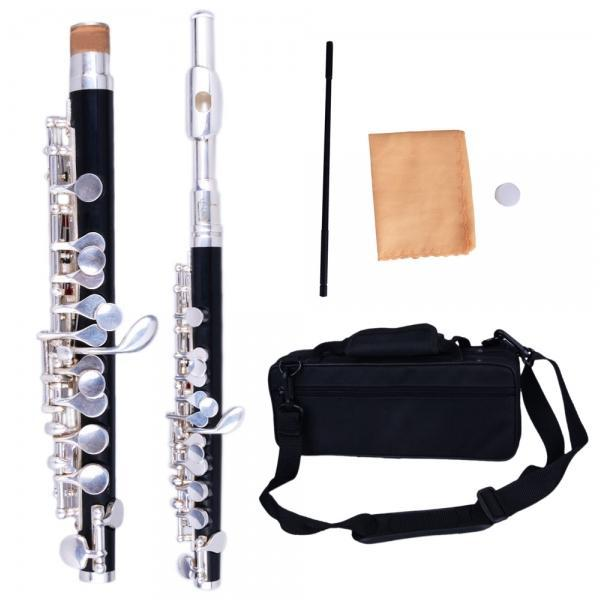 C Open Hole Concert Band Cupronickel Piccolo Silver &amp; Black  High Quality Musical Instruments  US-17001344<br><br>Aliexpress