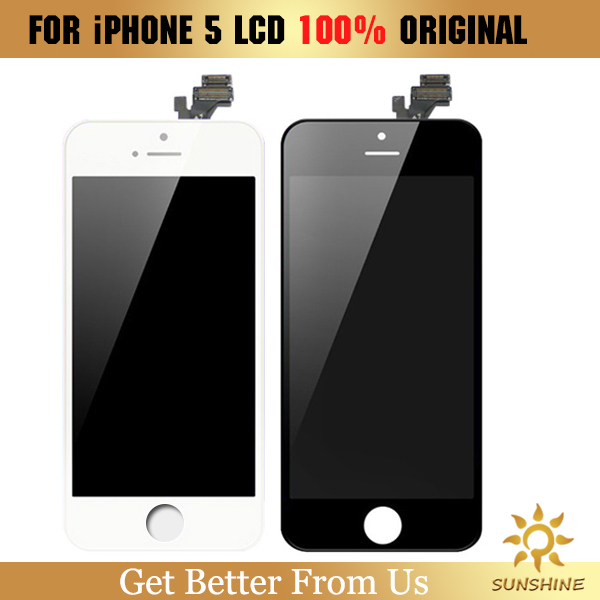 100% Original for iPhone 5 LCD Display touch screen with digitizer replacement assembly parts in black/white color(China (Mainland))
