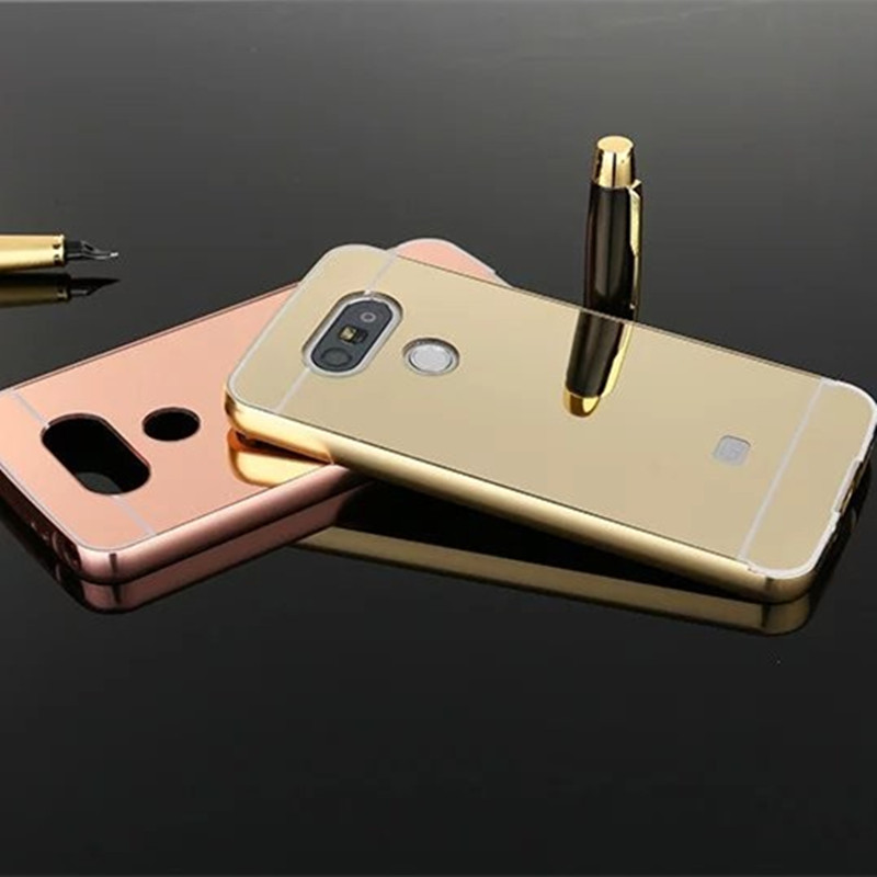 Hot Selling Etui mirror case For LG K5 X220 Q6 Aluminum Frame + Hard PC Plating Back Cover Metal Phone house for LG K5 Q6 X220(China (Mainland))