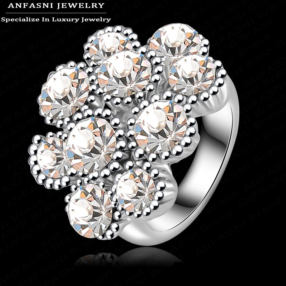 new year luxury brand ring real platinum plated flower