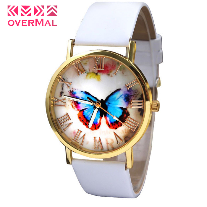 2015 freeshipping 3 Colors Low Price Genuine Leather Vintage Watches Butterfly Design Pendant Women Wristwatches watch relogios(China (Mainland))