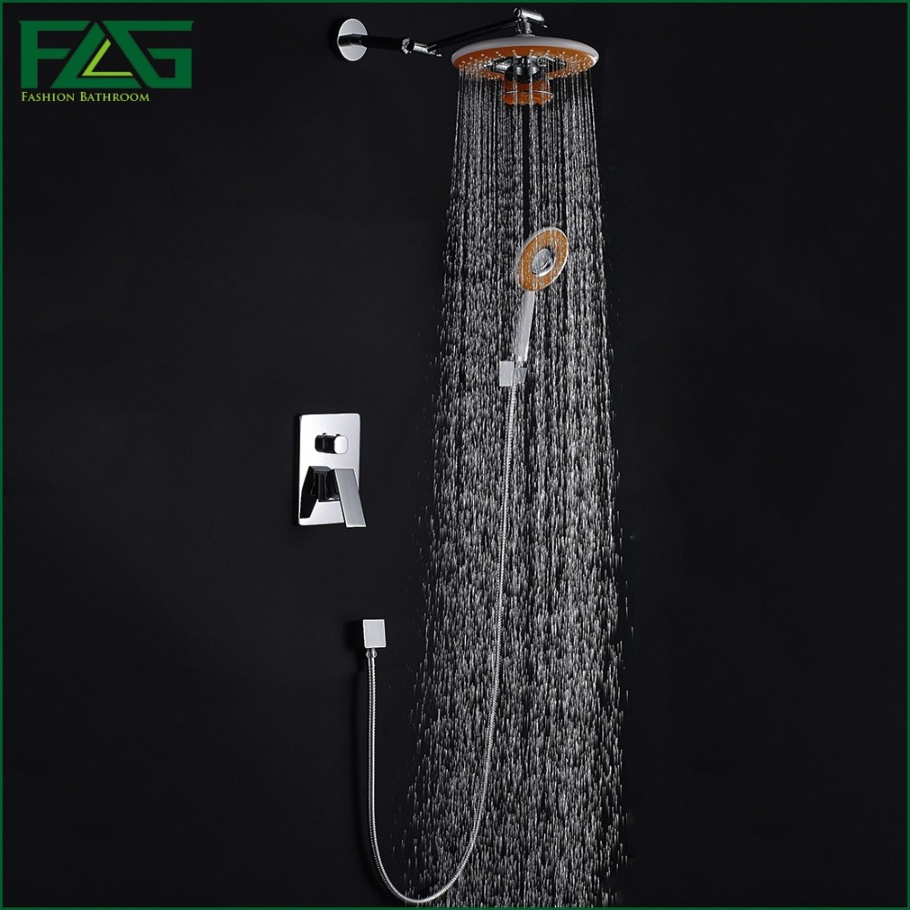 FLG Concealed Shower Set Panel Bathroom Mixer Faucet Bath Tap Shower Head With Phone Bluetooth Listen Music Chrome Polished HS16(China (Mainland))