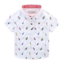 2016 new baby boy children summer shirt Lapel clothes full coat India cartoon